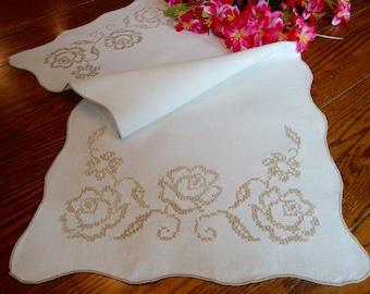 Linen Table Runner Beige Floral Embroidery Vintage Dresser Scarf