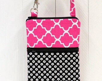 Attachable Pouch - Cell Phone Pouch - 2 Zippered Pockets - Camera Case - Padded - READY TO SHIP