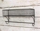 Bathroom Organizer, Basket Towel Rod, Bathroom Shelf, Bathroom Storage, Industrial, Towel Rack, Farmhouse Style, Wire Shelf, Fixer Upper