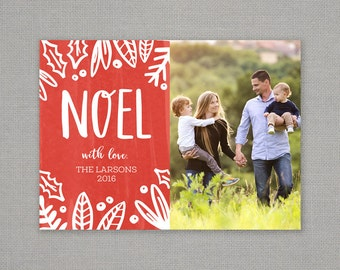 Christmas card // noel // red // white // modern // hand drawn // bold // holiday card // foliage // holly berry // pine