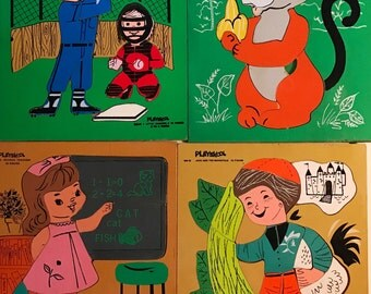 Set of FOUR Vintage Children's Puzzles