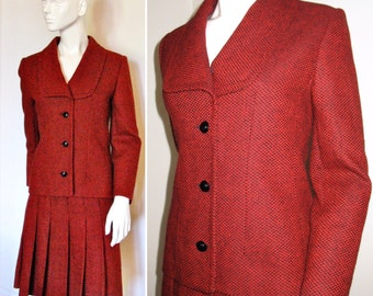 Vintage 1970s Givenchy Nouvelle Boutique Designer Suit with Pleated Skirt in Red and Black