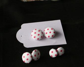 Pink Polka Dots Fabric Covered Button Earrings