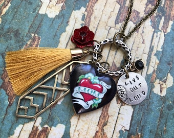 Live Out Loud/Mom Locket Necklace