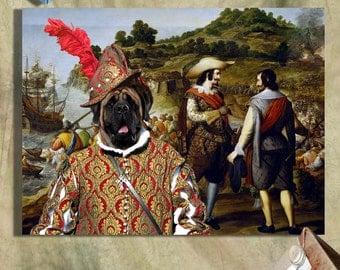English Mastiff - Mastiff Art CANVAS Print Fine Artwork of Nobility Dogs Dog Portrait Dog Painting Dog Art Dog Print