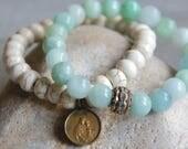 Stacked bracelets stretch bracelets assemblage jewelry bracelet set vintage charm bracelets boho bracelets F592-by French Feather Design