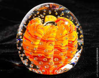 Blown Glass Paperweight - Contoured Bright Hot Color Swirls with Ribs and Bubble Grid