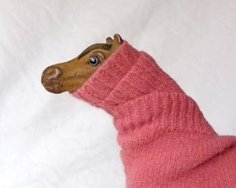 Altered horse figurine, brown horse in pink sweater,best foot forward