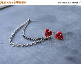 SALE Red Rose Double Chain Cartilage Earring (Pair)