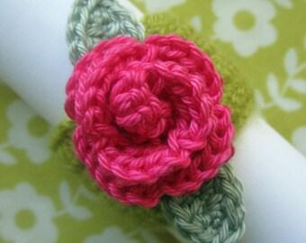 Crochet Pattern for Rose Napkin Ring