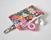 Woman's Liberty floral flower key chain coin pouch padded gadget change purse in pink,red,blue,green print.