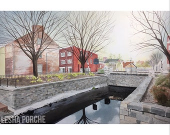New- ORIGINAL PAINTING Canal in Maryland Thnksgiving  -  Watercolor and ink