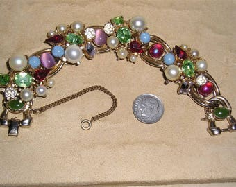 Vintage Large Busy Bracelet With Rhinestones Glass Stones And Faux Pearls 1950's Jewelry 7003