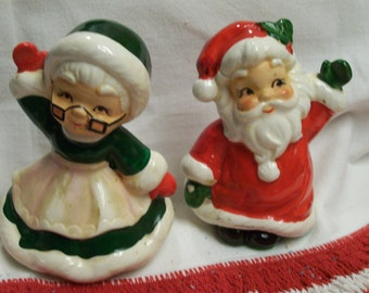 Josef Originals Santa and Mrs Claus Salt and Pepper Shakers Vintage Holiday Tabletop Waving Mr and Mrs Claus Circa 1960s