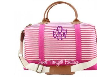 Pink Weekender Monogrammed Bag, Monogrammed Pink Striped Duffel Bag, Monogrammed Overnight Bag, Carry On Bag, Bridal Party Gift