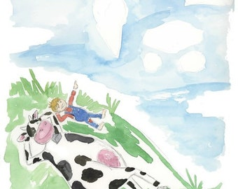 Cow and Boy cloud watching