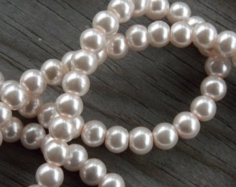140 Pink Glass Pearls 6mm 15 inch strand