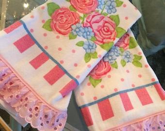 Handmade shabby hand towels, lace, roses, shabby chic