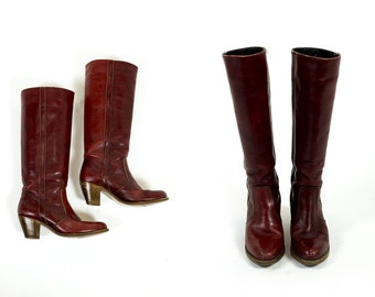 Vintage 1970s Dexter Red Brown Leather Stacked Wood Heel Knee High Riding Boots Size 8 8.5