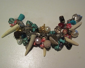 Super Charm Loaded Bracelet Turquoise Antlers Beads Buttons Charms Handcrafted Steampunk  Jewelry