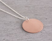 Custom Order for Sarah Stewart : Copper Circle Necklace on 55cm Chain