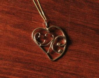 9ct Gold Filigree Heart Pendant