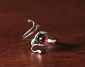 Adjustable Sterling Silver and Garnet Ring