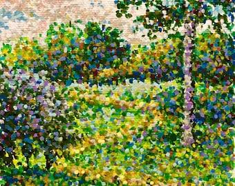"Original Pointillist Acrylic Painting by Michigan artist 5x7 ""Zigzag Path"""
