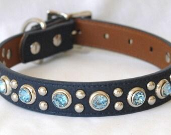 "Sky Blue Dog Collar, Faux Leather Dog Collar, Water Proof Dog Collar, Custom Dog Collar, 1"" wide, sizes Medium to Large,"