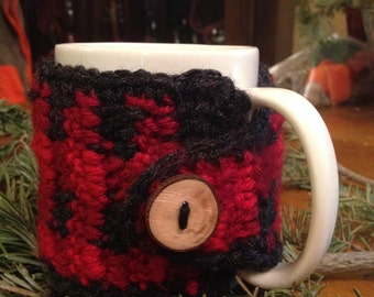 Crochet Red Plaid Coffee Cup Cozy With Rustic Button  - Back To School - Stocking Stuffer - Teacher Gift