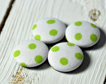 Fabric covered button magnets (4) –  Cotton White and Green Polka Dots pattern - Strong magnets