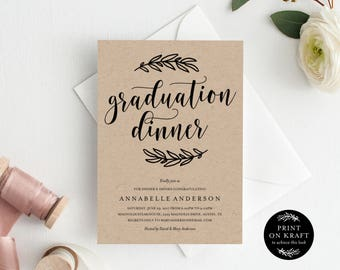 Editable Template - Instant Download Rustic Graduation Dinner Invitation