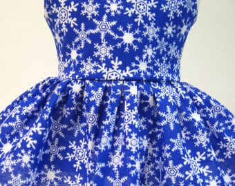 Snowflakes on Blue, Winter and Holiday Dress