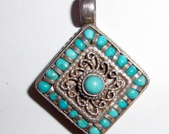 Vintage Old Sterling Silver & Turquoise Pendant Very Very Ornate