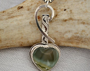 Royal Imperial jasper heart pendant.  Green stone sterling silver hand fabricated.  Mother's day gift.