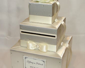 Ivory on Ivory Wedding Card Box-any color