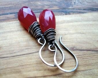 Hot pink earrings - Pink drop earrings - Sterling silver earrings - Fuchsia earrings - Wire wrapped - Simple earrings - Gift for her