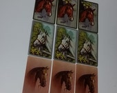 9 Old playing cards with 3 different horse head illustrations altered art scrap paper projects Vintage paper ephemera supplies lot