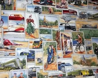 1+ yard unused Fabric colorful vintage trade card images Print 44 by 40 Life's Journey OOP Robert Kaufman