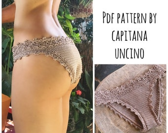 PDF-file for Crochet PATTERN, Lorelei Crochet Bikini Bottom, Basic, with more coverage, Sizes XS-L, 2 edging options for the waist
