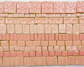 135+ Handmade Mosaic Tile Pieces Ceramic Stoneware  Pink Rose Shades Glazed Craft Tile Assortment #1