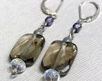 Smokey Quartz and Labrodorite gemstone Earrings, with crystals and Sterling silver leverback earrings (EA32)