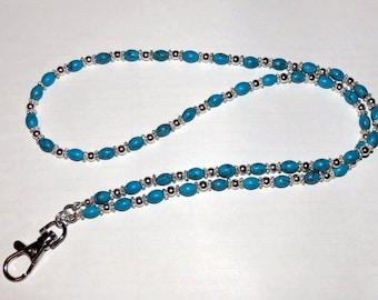 Turquoise Beaded Lanyard