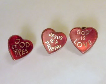Lot of 3 - Vintage Religious Hat Lapel Pin Tie Tack Red Heart - God Cares - Jesus Pins
