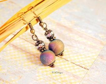 Rainbow Agate Earrings, Gemstone Earrings, Brass and Rainbow Agate Pierced or Clip-On Earrings, Gift for Her Bohemian Earrings Drop Earrings