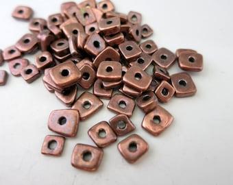 20 Mykonos Bronze Little Chip Beads, 4x2mm Ceramic Boho Bead, Made in Greece