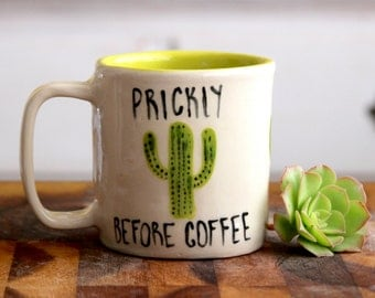 Handmade Cactus Mug - Prickly Before Coffee - Handbuilt Pottery - Stoneware Coffee Cup - READY TO SHIP