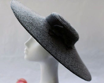 The Paris Pancake  - Wide Brim Straw Boater Hat w/ Black Petersham Ribbon Bow Trim - Wedding Hat & Races