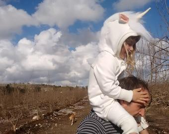 Unicorn Costume/ Little Pony costume/ White Unicorn/ Burning man costumes/Burning man kids/ Kids Costume/ Festival Wear/ wearable art