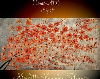 Sale XLarge Abstract painting,Original comtemporary Art,Coral Mist,lots of texture Ready to hang  by Nicolette Vaughan Horner 48x24